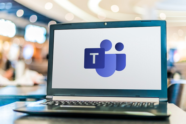 A laptop with Microsoft Teams on it