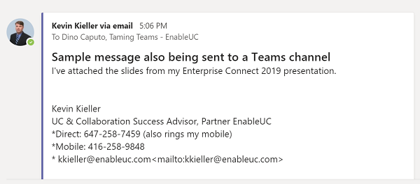 Example of how emails appear in Teams channel