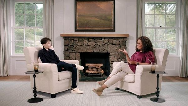 Elliot Page speaking with Oprah