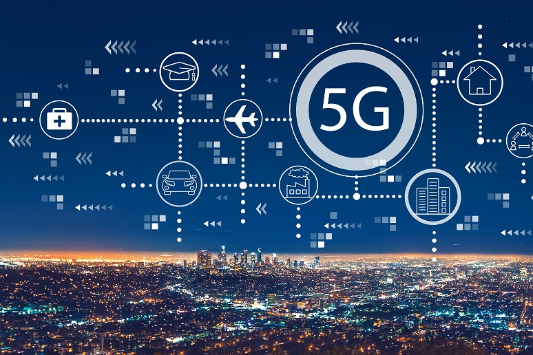 5G phone with arrows connecting cities