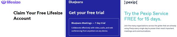 Screen grabs of Pexip, BlueJeans, Lifesize meetings logos