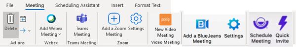 Screen grab of Outlook ribbon with meetings plugins