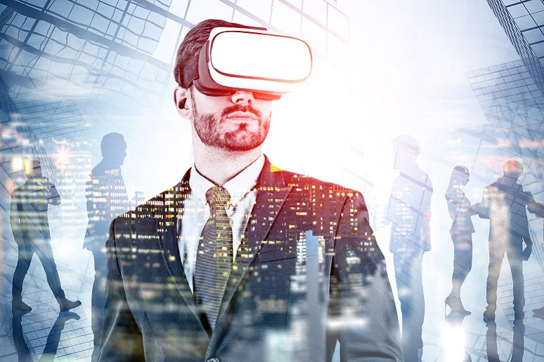 A business person wearing a VR headset