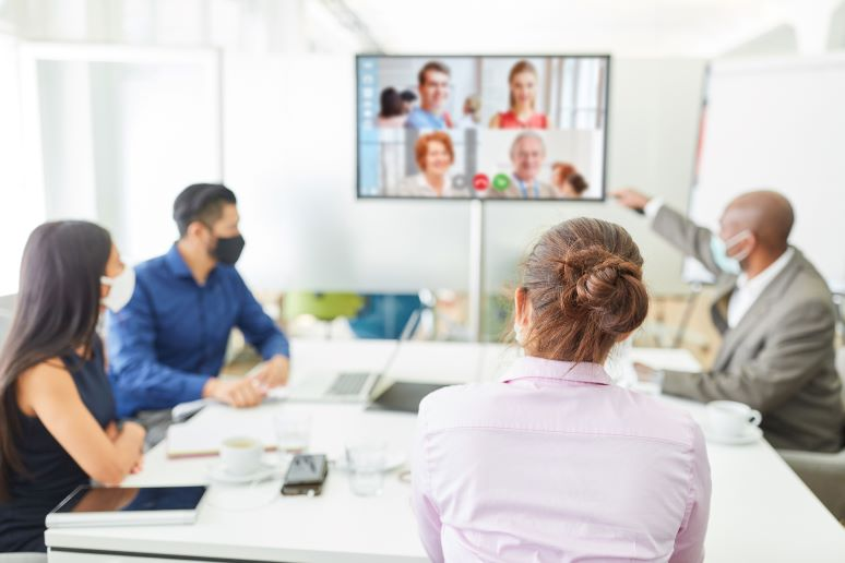 Picture of video meeting with remote colleagues