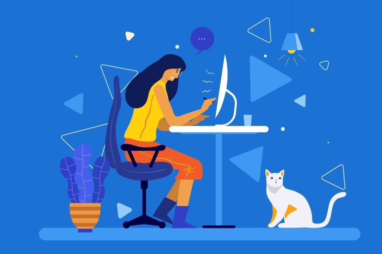 Illustration of young woman working from home, with cat