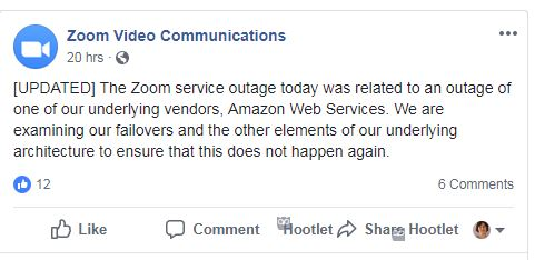 Zoom explains service disruption in Facebook post
