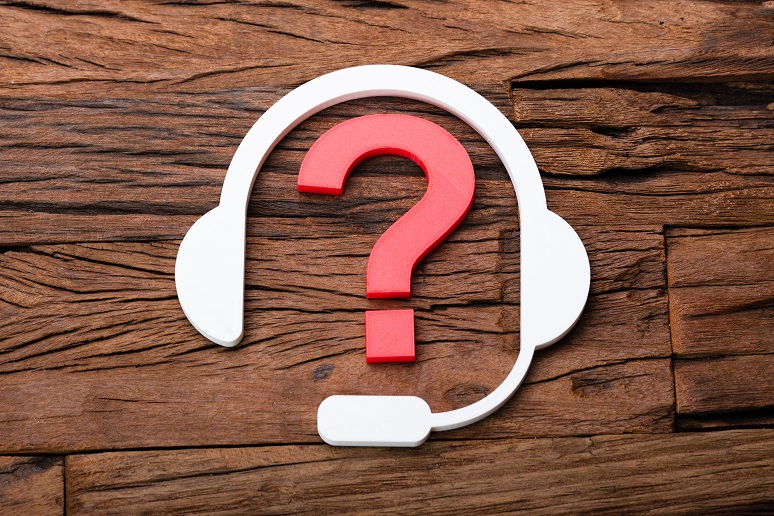 A contact center headset icon with a question mark