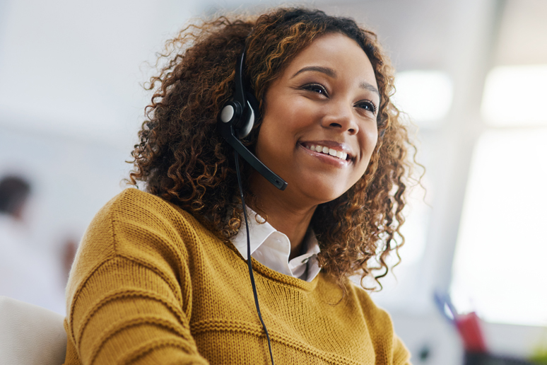 Smiling contact  center agent
