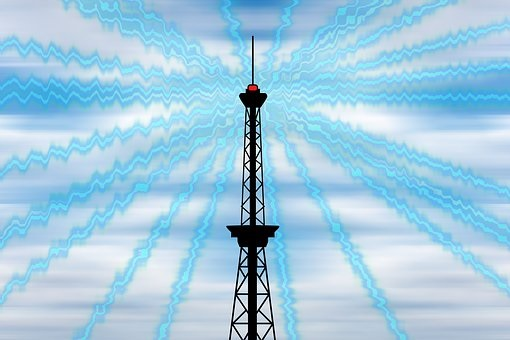 Radio waves from cell tower