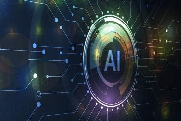 A technology background with the words AI
