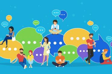 Picture showing lots of people engaging with chat/messaging