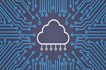 Conceptual illustration w/ cloud and circuits