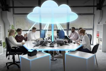 A team working with cloud technology