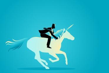 Illustration of businessman riding a unicorn