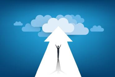 Illustration of man, and an arrow pointing to lots of clouds