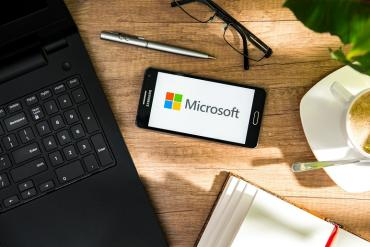 A Microsoft phone and laptop
