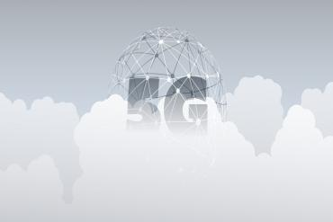 5G Network Label with Wireframe Globe - High Speed, Broadband Mobile Telecommunication and Wireless Systems Design Concept