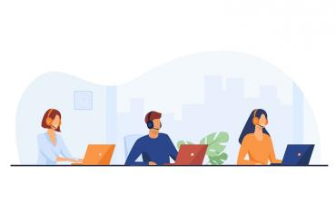 Illustration showing three contact center agents talking on phone