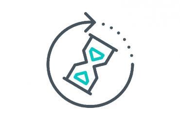 A sandglass icon depicting wait times