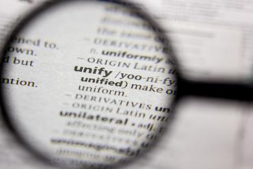 Photo of dictionary definition of unify