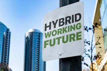 A sign that says Hybrid Working Future