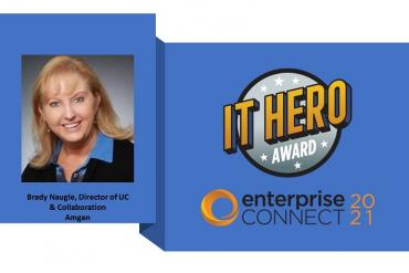 Photo of Brady Naugle, IT Hero Award winner, and IT Hero Award logo