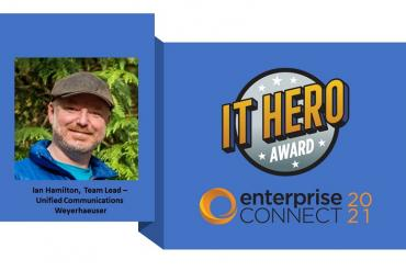 Photo of IT Hero Ian Hamilton and award logo