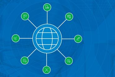 Illustration of global, omnichannel contact center