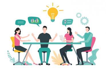 A marketing team collaborating
