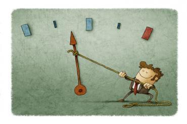 Photo illustration of man moving a needle
