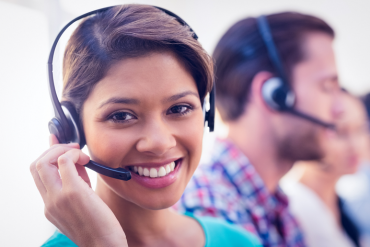 Photo of happy contact center agent