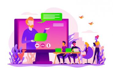 A graphic of a video meeting