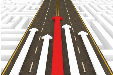 Road with forward arrows