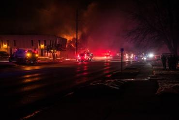 Firetrucks at night