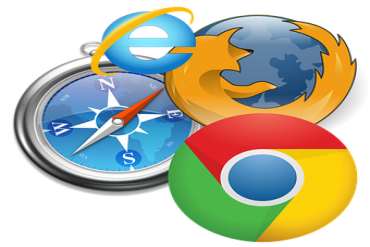Chrome, Edge, Firefox, Safari  browser logos