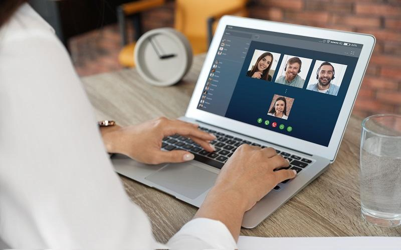 People working with video conferencing
