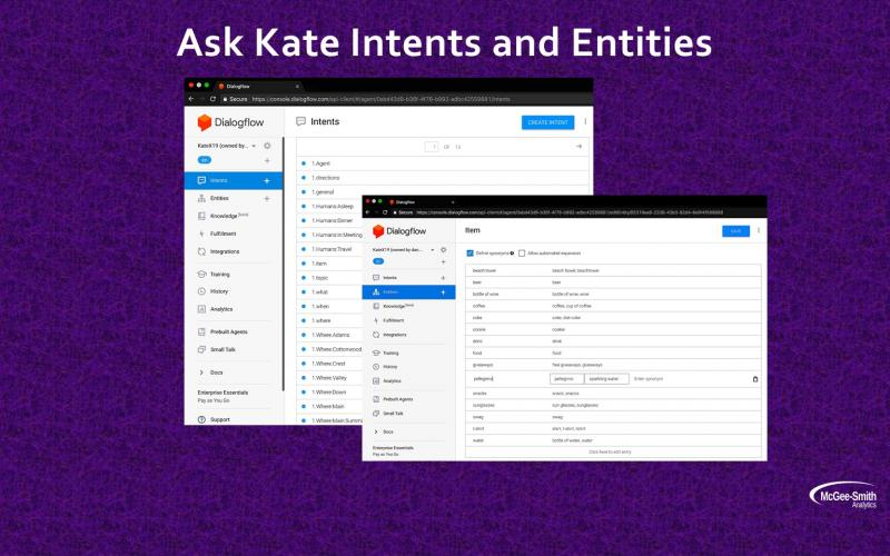 Ask Kate intents & entities